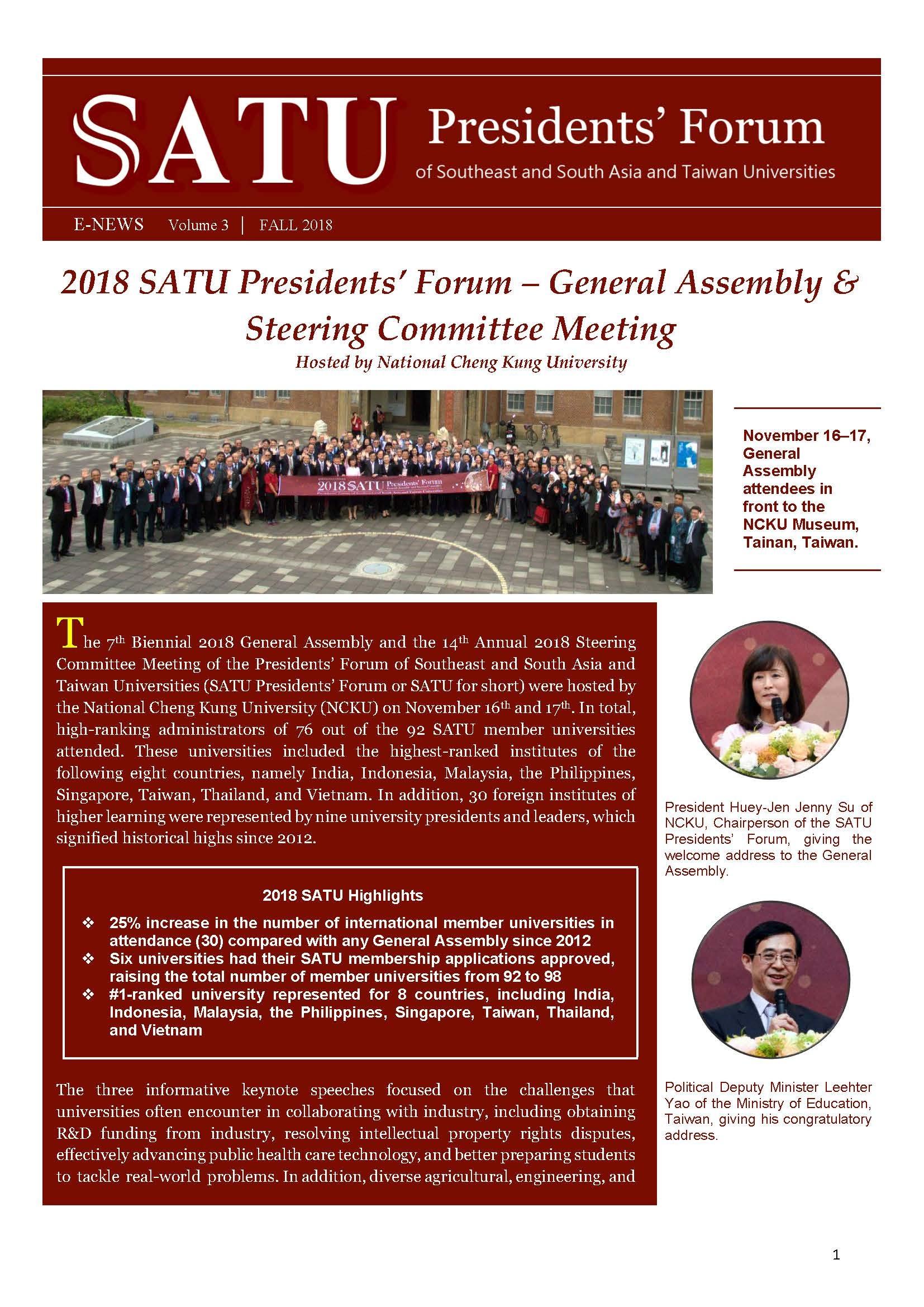 SATU E-News Vol. 3 page 1